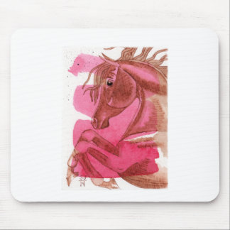 Rearing Chestnut Horse On Hot Pink Watercolor Wash Mouse Pads
