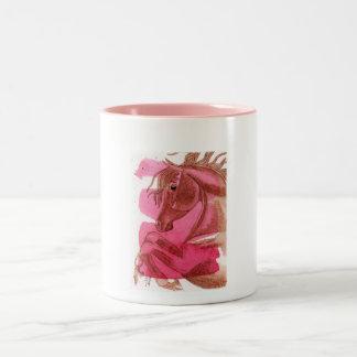 Rearing Chestnut Horse On Hot Pink Watercolor Wash Mug