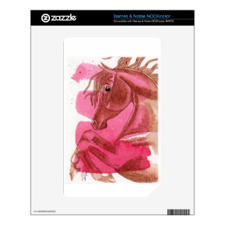 Rearing Chestnut Horse On Hot Pink Watercolor Wash Decals For The NOOK Color