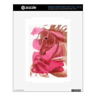 Rearing Chestnut Horse On Hot Pink Watercolor Wash Decal For NOOK