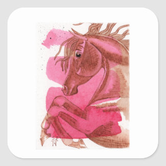Rearing Chestnut Horse On Hot Pink Watercolor Wash Square Sticker