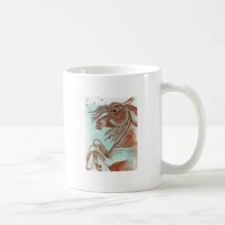 Rearing Chestnut Horse Turquoise Watercolor Wash Mugs
