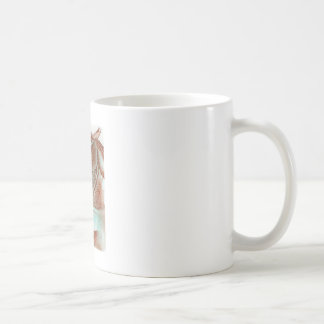 Rearing Chestnut Horse Turquoise Watercolor Wash Coffee Mugs