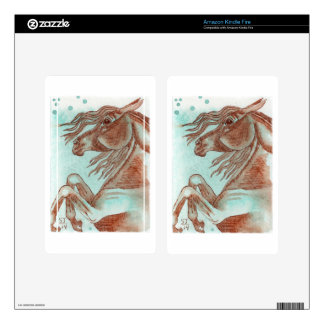 Rearing Chestnut Horse Turquoise Watercolor Wash Kindle Fire Decal