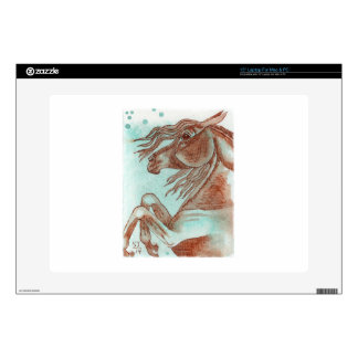 Rearing Chestnut Horse Turquoise Watercolor Wash Laptop Skin