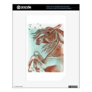 Rearing Chestnut Horse Turquoise Watercolor Wash Skin For NOOK Color
