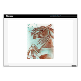 """Rearing Chestnut Horse Turquoise Watercolor Wash 17"""" Laptop Skins"""