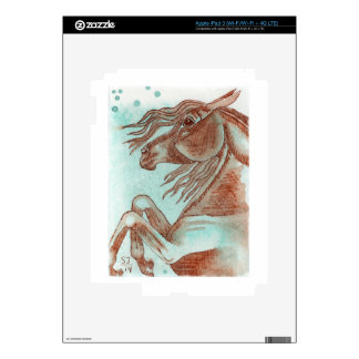 Rearing Chestnut Horse Turquoise Watercolor Wash Decals For iPad 3