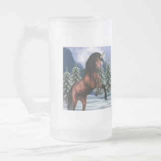 Rearing Chestnut Unicorn  Frosted Beer Mug