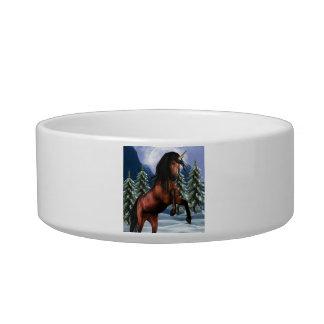 Rearing Chestnut Unicorn Pet Bowl Cat Water Bowl