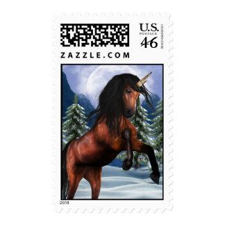 Rearing Chestnut Unicorn  Postage Stamp