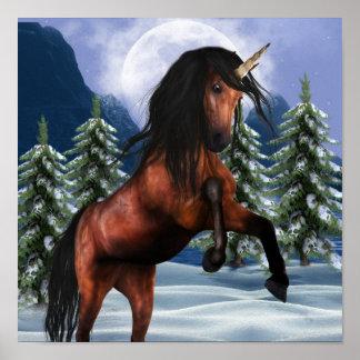 Rearing Chestnut Unicorn Poster