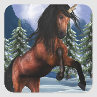 Rearing Chestnut Unicorn Stickers