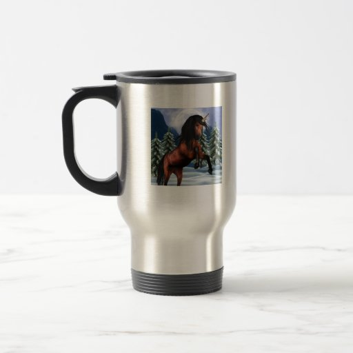 Rearing Chestnut Unicorn  Travel Mug