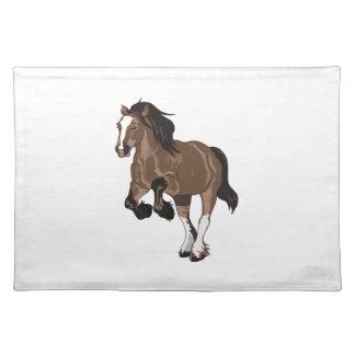 REARING DRAFT HORSE CLOTH PLACE MAT