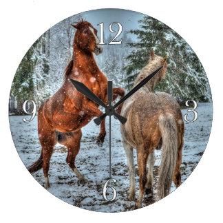 Rearing Dun & Palomino Winter Horses Equine photo Large Clock
