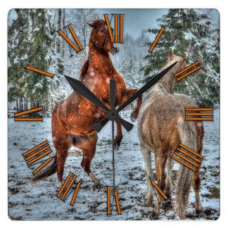 Rearing Dun & Palomino Winter Horses Equine photo Square Wall Clock