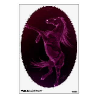 Rearing Friesian Horse Oval Wall Decal