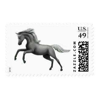 Rearing Gray Stallion Postage