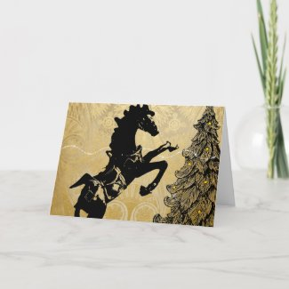 Rearing Horse and Christmas Tree, Golden Holiday Card