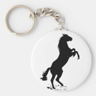 Rearing Horse Basic Round Button Keychain