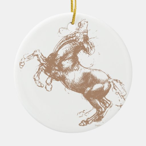 Rearing Horse Double-Sided Ceramic Round Christmas Ornament