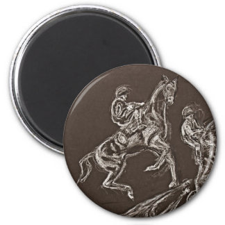 rearing horse drawings by Conway 2 Inch Round Magnet