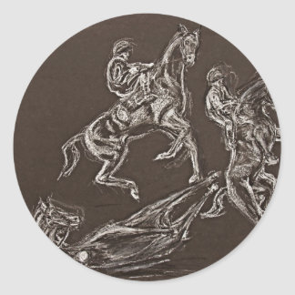 rearing horse drawings by Conway Classic Round Sticker