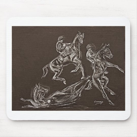 rearing horse drawings by Conway Mouse Pad
