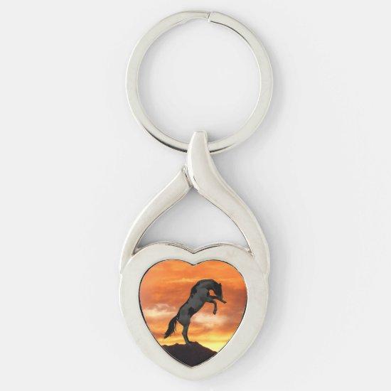 Rearing Horse Heart Keychain