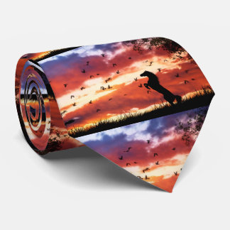 Rearing Horse in the Sunset Tie