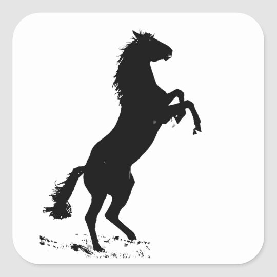 Rearing Horse Silhouette Square Sticker | Zazzle.com