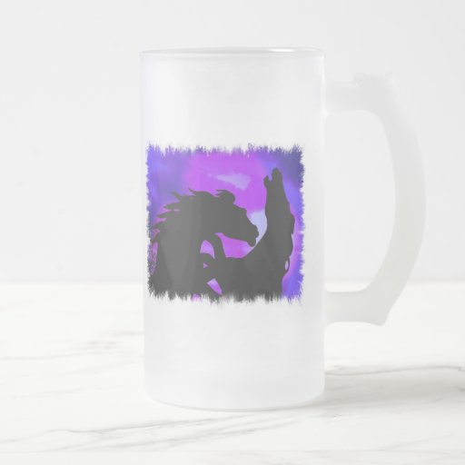 Rearing Horses Design Frosted Beer Mug