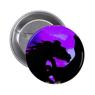 Rearing Horses Design Round Button