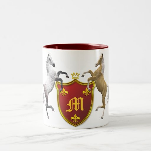 Rearing horses with a heraldic shield, monogrammed mugs