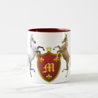 Rearing horses with a heraldic shield, monogrammed Two-Tone coffee mug