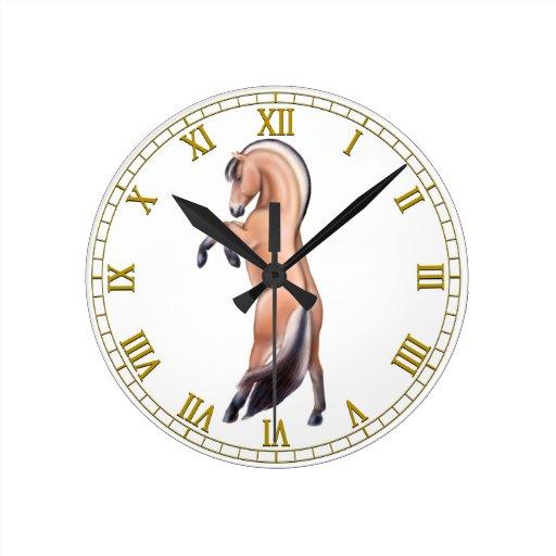 Rearing Norwegian Fjord Horse Wall Clock