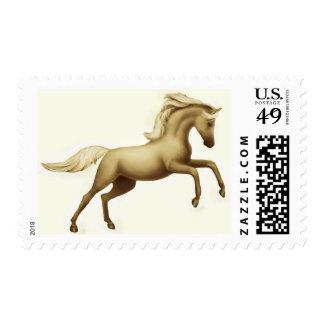 Rearing Palomino Stallion Postage
