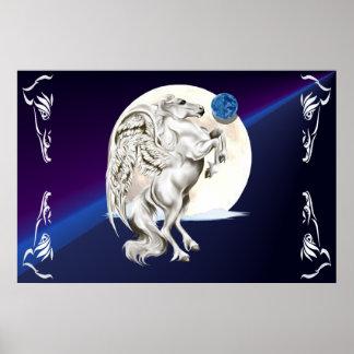 Rearing Pegasus Stallion Poster