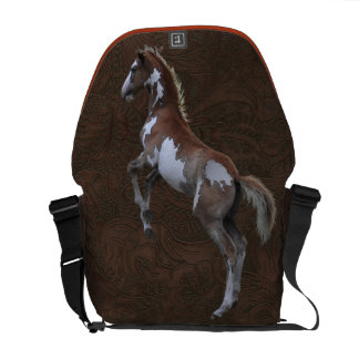 Rearing Pinto Horse Faux-leather Messenger Bag