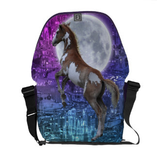 Rearing Pinto Horse-lover Fantasy Messenger Bag