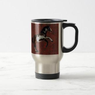 Rearing Pinto Stallion Horse on faux Leather BG Travel Mug