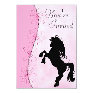 Rearing Silhouette Horse Birthday Invitation
