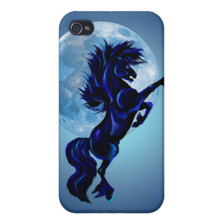 Rearing Stallion and Blue Moon 441__P iPhone 4/4S Covers