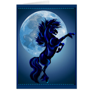 Rearing Stallion and Blue Moon Card