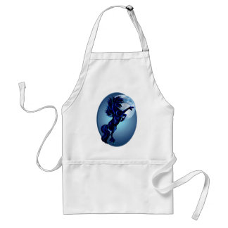 Rearing Stallion and Blue Moon Oval Apron