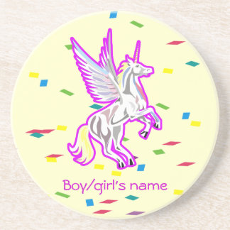 Rearing Unicorn Guardian Angel Drink Coaster