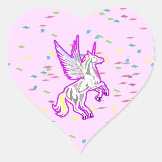 Rearing Unicorn Guardian Angel Heart Sticker