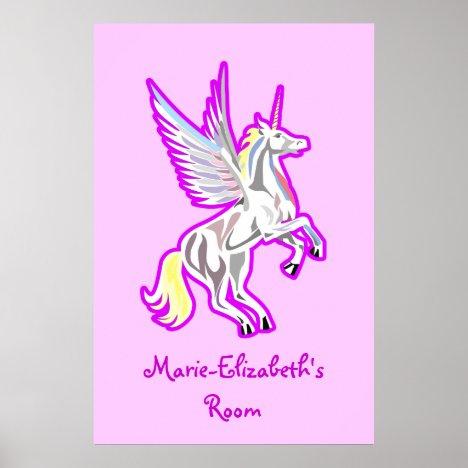Rearing Unicorn Guardian Angel poster