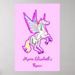 Rearing Unicorn Guardian Angel poster Print